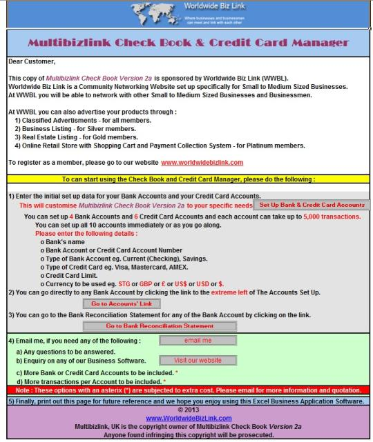 Multibizlink Check Book & Credit Card Manager