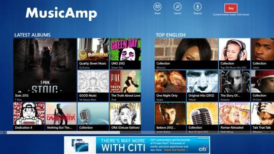 MusicAmp for Windows 8