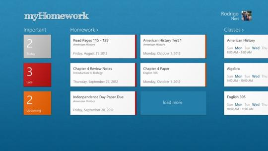 myHomework for Windows 8