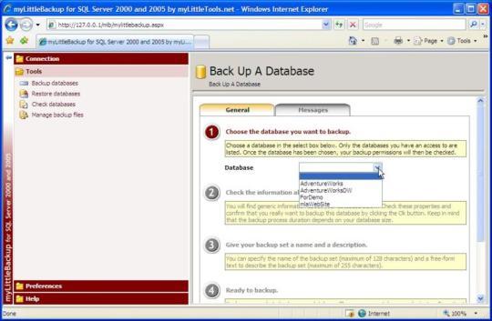 myLittleBackup for MS SQL Server