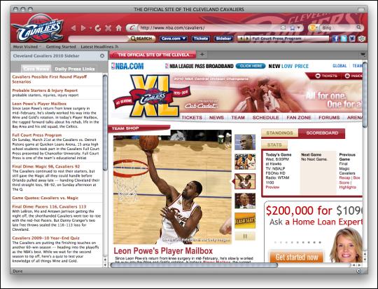 NBA Cleveland Cavaliers Firefox Theme