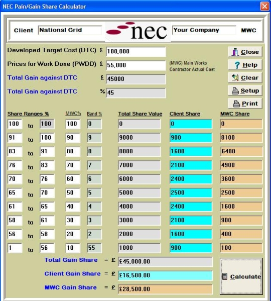 NEC Contracts Calculator