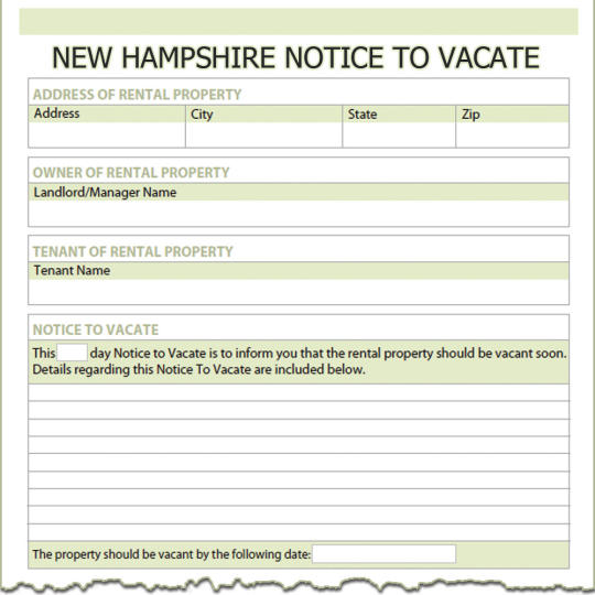 New Hampshire Notice To Vacate
