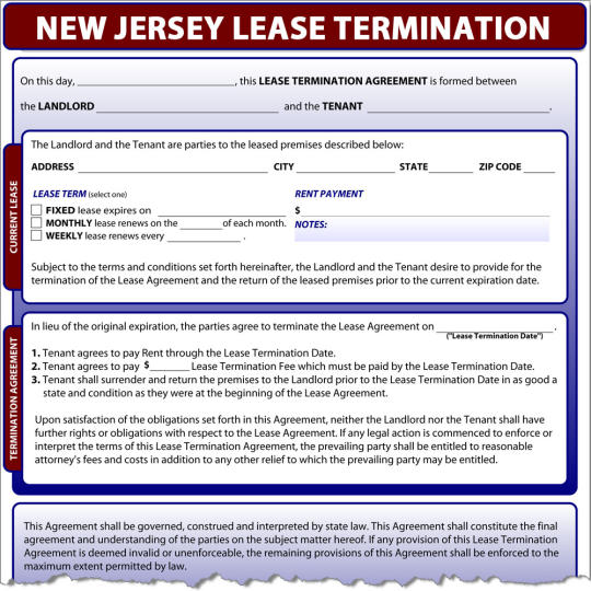 New Jersey Lease Termination