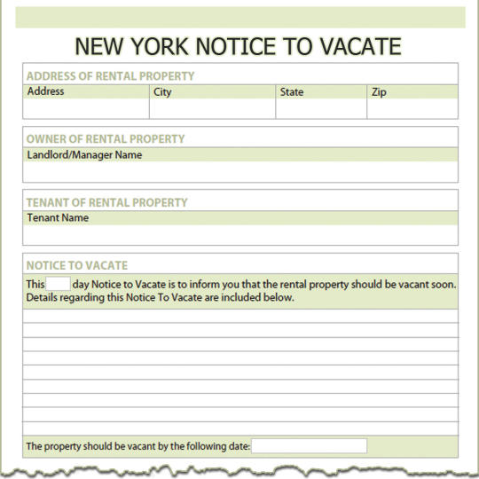 New York Notice To Vacate