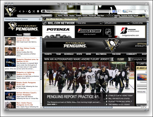 NHL Pittsburgh Penguins Hockey Firefox Theme