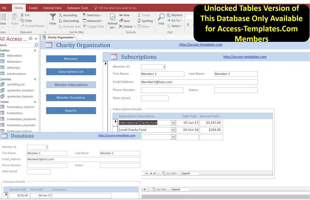 Non Profit Membership Fundraising Software for Microsoft Access