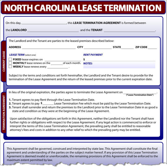 North Carolina Lease Termination