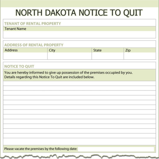 North Dakota Notice To Quit