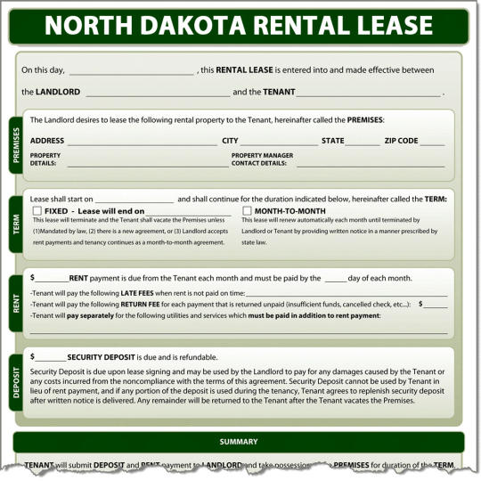 North Dakota Rental Lease