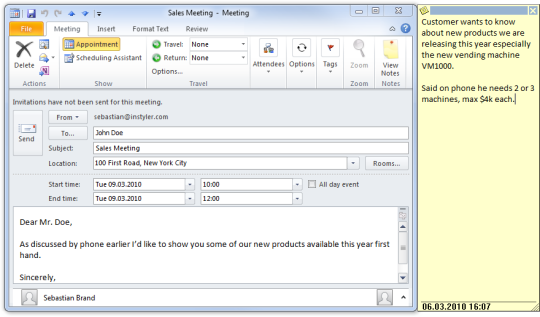 Notes Add-in for Outlook
