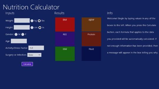 Nutrition Calculator for Windows 8