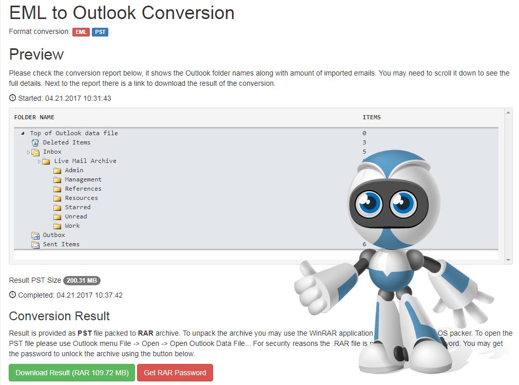On-line E-mail Conversion