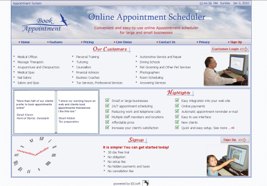 Online Appointment Scheduler for SPA, SALON, Medical Office