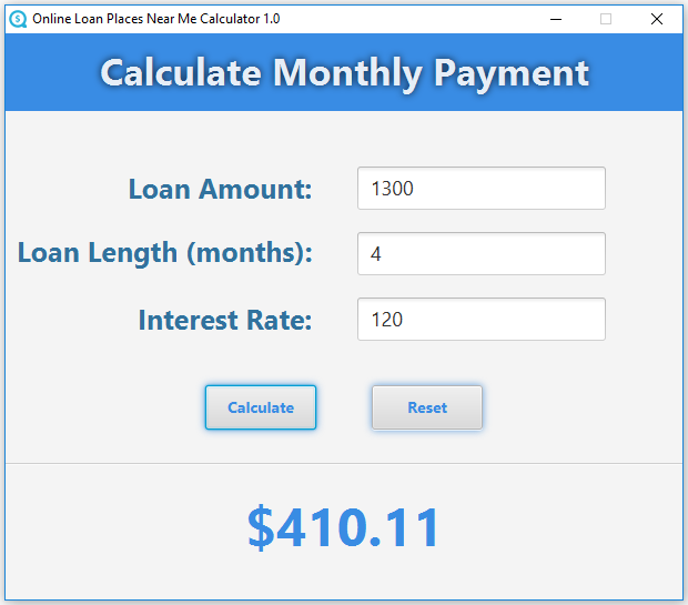 Online Loan Places Near Me Calculator