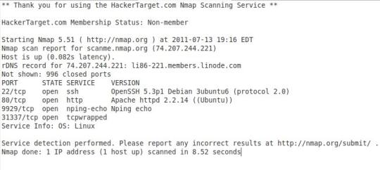 Online Nmap Port Scan