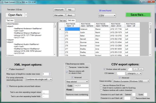 Opal-Convert CSV to XML to CSV