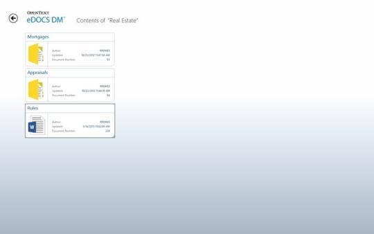 OpenText eDOCS DM App for Windows 8