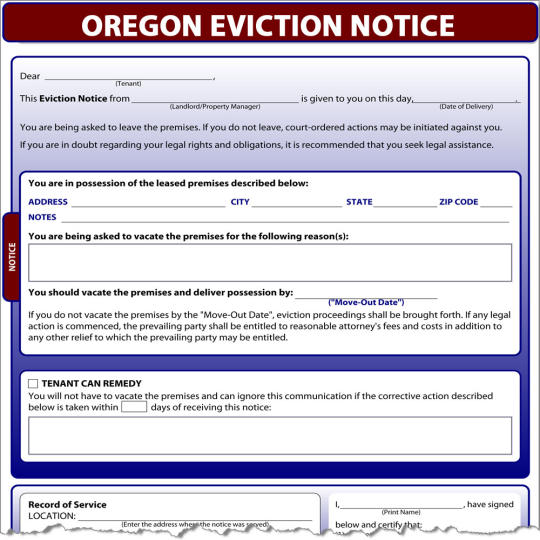 Oregon Eviction Notice