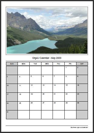 Org4U.com Free Online PDF Calendar