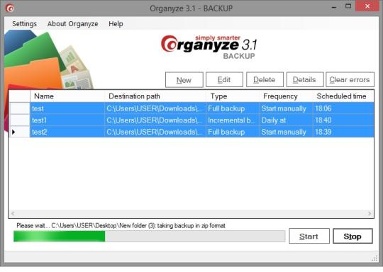 Organyze Backup