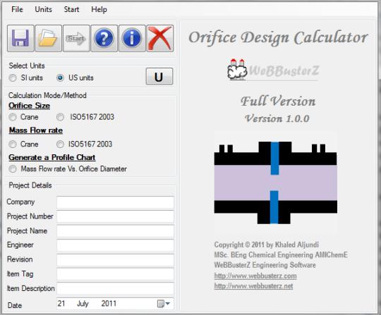 Orifice Design Calculator