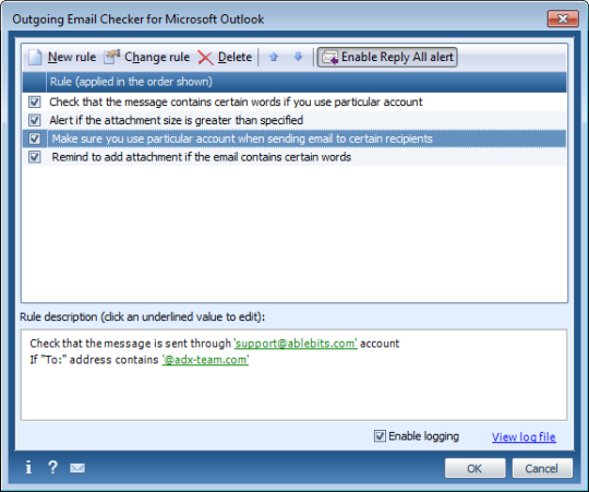 Outgoing Email Checker for Outlook