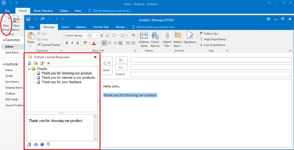 Outlook Canned Responder
