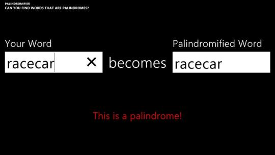 Palindromifier for Windows 8