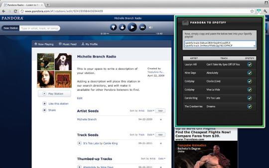 Pandora to Spotify Playlist Converter for Chrome