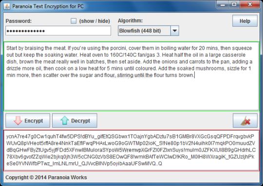 Paranoia Text Encryption
