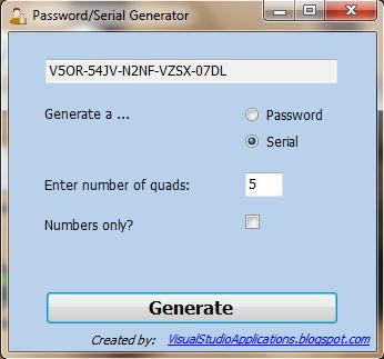 Password and Serial Generator