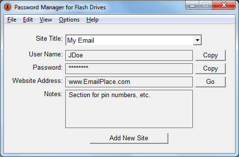 Password Manager for Flash Drives