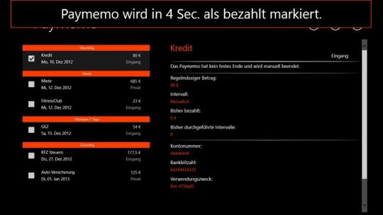 Paymemo for Windows 8