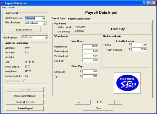 Payroll SB 2009