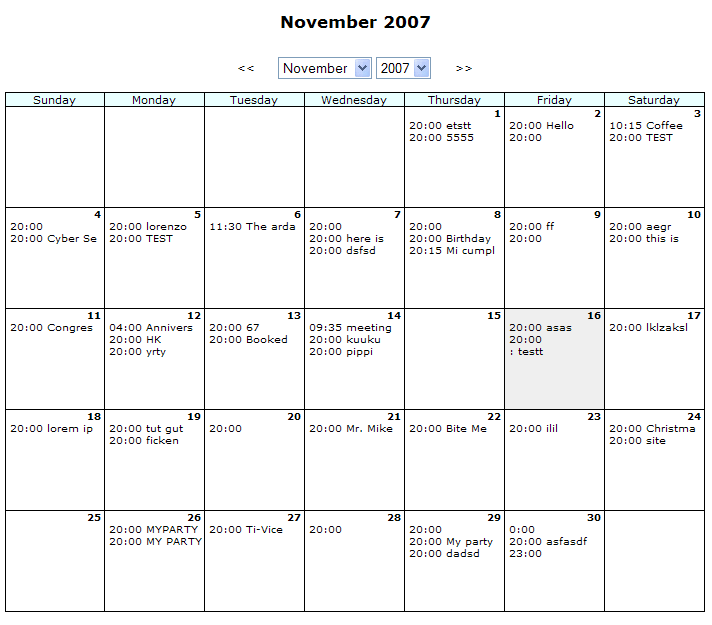 PHP Calendar Basic