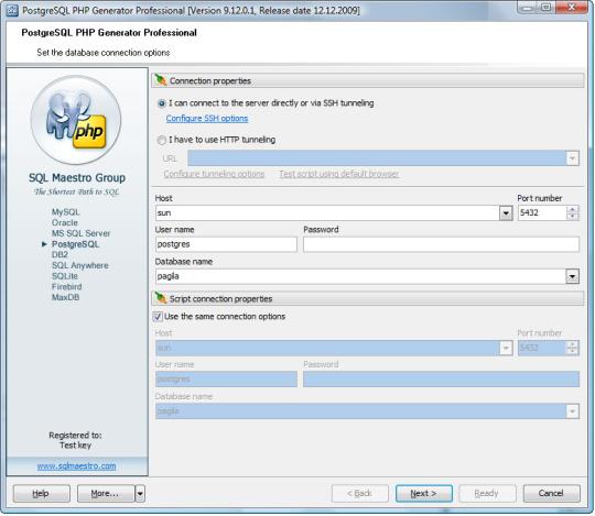 PostgreSQL PHP Generator Free