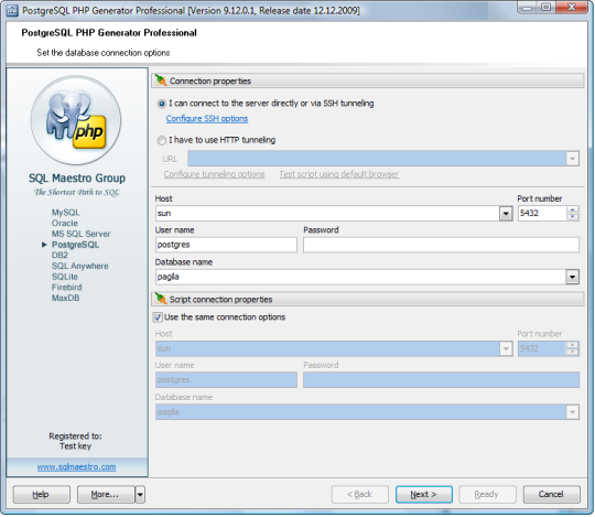 PostgreSQL PHP Generator Professional