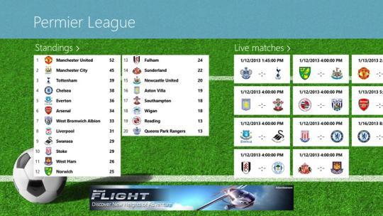 Premier League Tile LiveScore for Windows 8