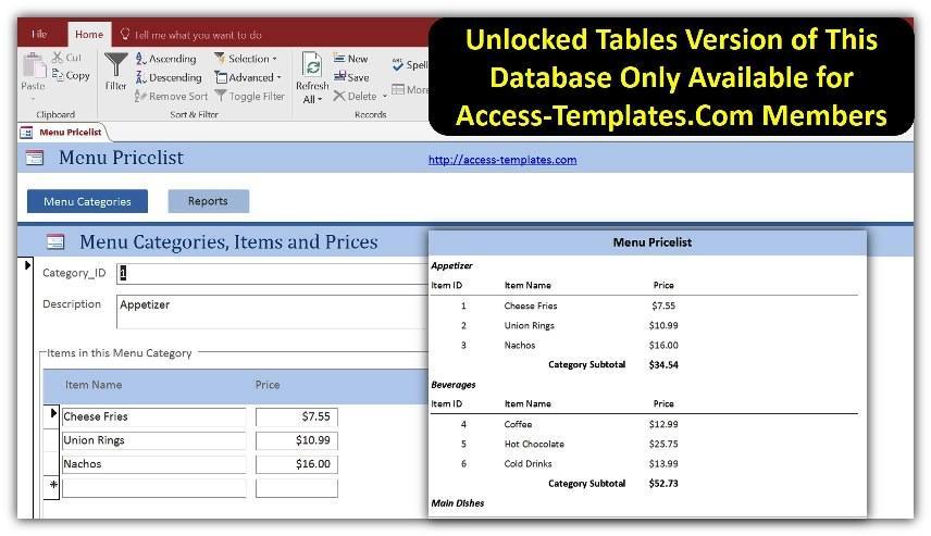 Price List Menu Templates for Microsoft Access