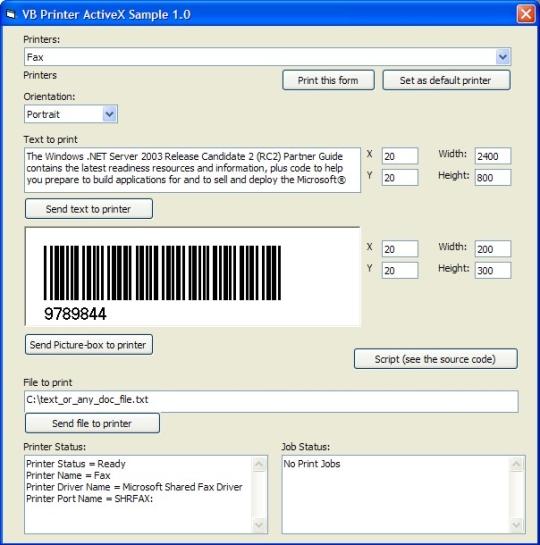 Printer Comm ActiveX