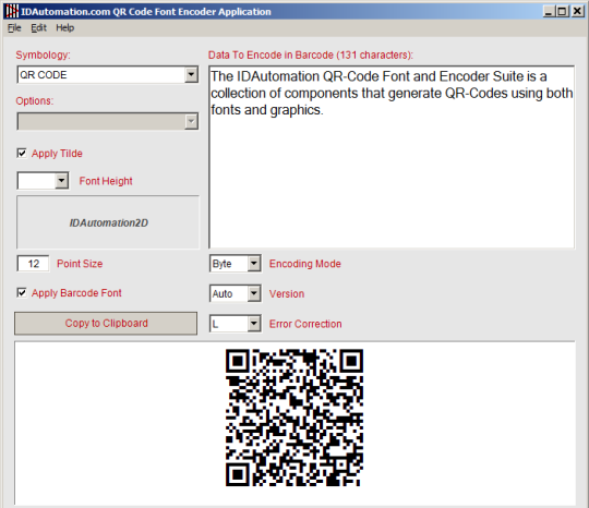 QR Code Font and Encoder