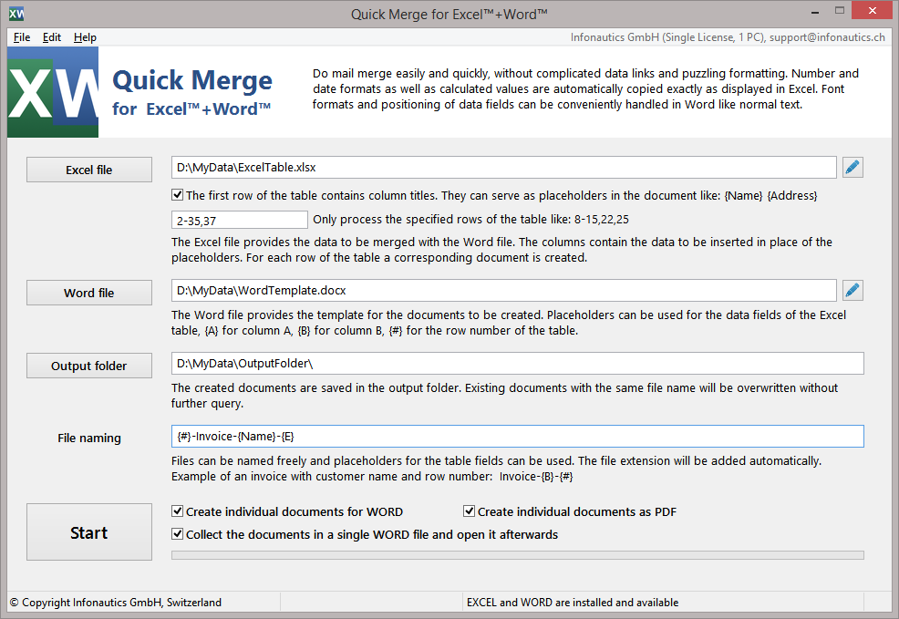 Quick Merge for Excel + Word