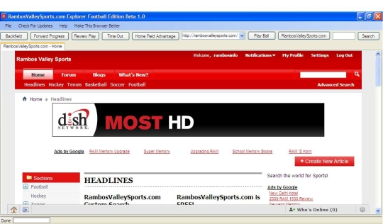 RambosValleySports.com Web Browser Football Edition Beta 1.0