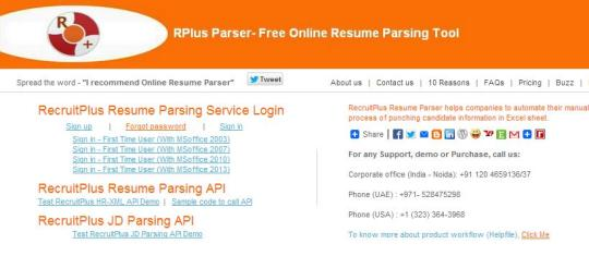 RecruitPlus Resume Parser