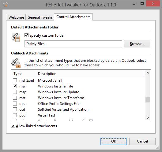 ReliefJet Tweaker for Outlook