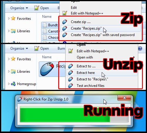 Right-Click for Zip Unzip