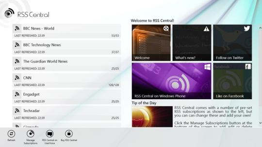 RSS Central for Windows 8