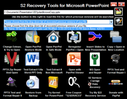 S2 Recovery Tools for MS PowerPoint