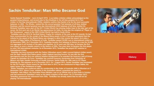 Sachin Tendulkar History for Windows 8